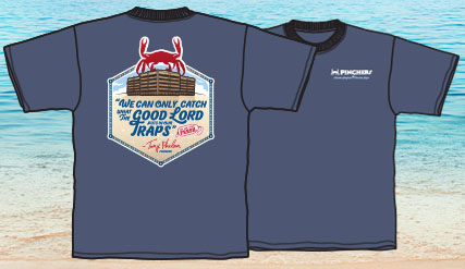 Pinchers T-Shirt (What the Good Lord Puts In Our Traps - Blue)